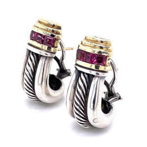 David Yurman Purple Garnet Gold and Sterling Clip Earrings Fine Estate Jewelry