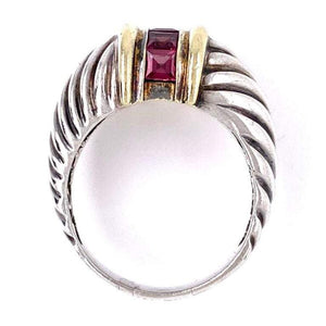 David Yurman Purple Garnet Gold and Sterling Ring Fine Estate Jewelry
