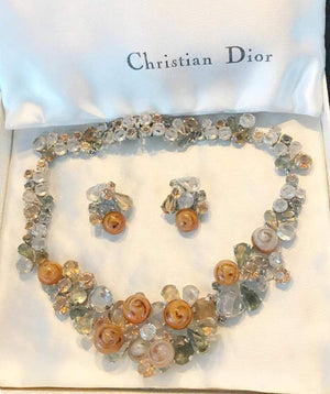 Christian Dior Crystal Necklace and Earrings Set Fine Estate Jewelry 1958