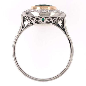 2.70 Carat Emerald Diamond Art Deco Style Platinum Engagement Ring