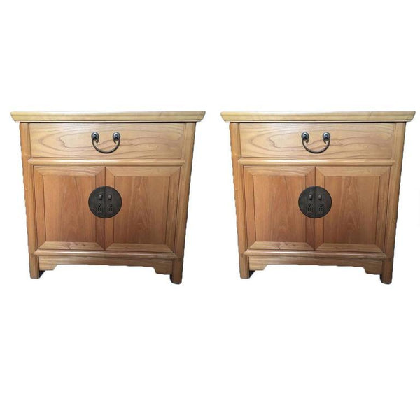 Pair of Chinese Elmwood Two-Door Nightstand Commodes