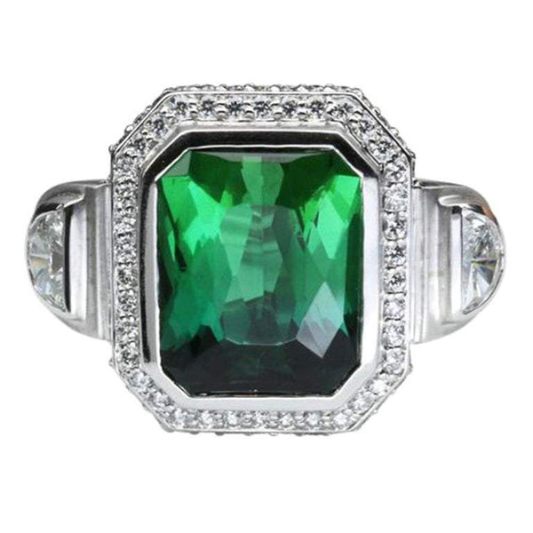 10.81 Carat Cushion Cut Green Tourmaline Gold Statement Ring Estate Fine Jewelry