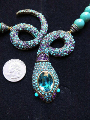 Signed HEIDI DAUS Designer Faux Turquoise and Crystal Snake Necklace Estate Find
