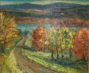 Lac Masson Estate Vibrant Oil Painting on Artist Panel, Sydney Berne circa 1966