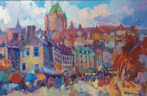 'Chateau Frontenac' Quebec Oil on Board Contemporary Painting by Bedros Aslanian