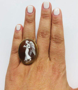 Winged Goddess of the Night Cameo Rose Gold Silver Ring