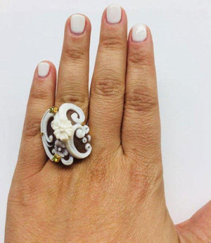 Flower and Swirl Carved Cameo Rose Gold Sterling Silver Ring