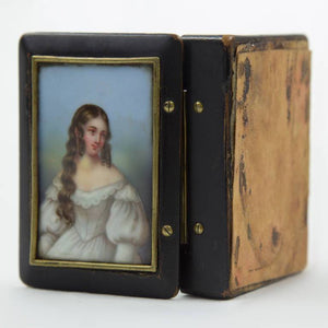 Antique Snuff Trinket Box Ebonized Wood Porcelain Miniature Portrait