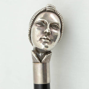 Art Deco Female Head, Silver and Wood Cane or Walking Stick