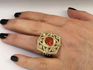 3.60 Carat Round Fire Opal and Diamond Gold Ring Estate Fine Jewelry