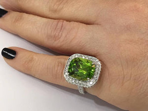 9.54 Carat Peridot Diamond Gold Statement Engagement Ring