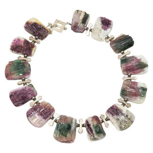 Natural Free-Form Tourmaline Druzy Silver Necklace