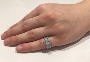 Diamond Platinum Halo Ring and Two Fitted Platinum Diamond Bands