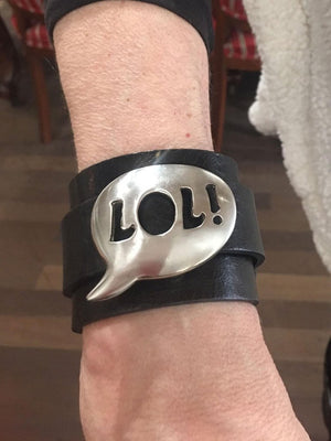 LOL! Acronym Stainless Steel Leather Cuff Bracelet