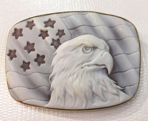 Magnificent Large American Eagle Cameo Heirloom Quality Pin Brooch Pendant