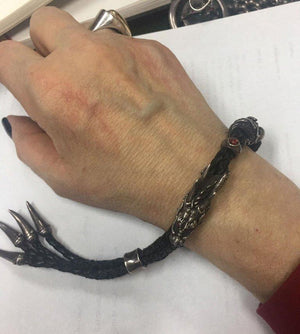 Awesome Sterling Silver Dragon and Black Leather Statement Bracelet