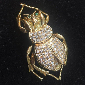 Antique Lucky Scarab Diamond 18 Karat Gold Beetle Brooch Pin Estate Fine Jewelry