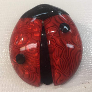Pair of Red & Cream Black Ladybug Lea Stein Ladybird Brooch Pins Estate Jewelry