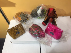 Jim Thompson Collection of Colorful Plush Silk Toys and Jewelry Handbag Pouches
