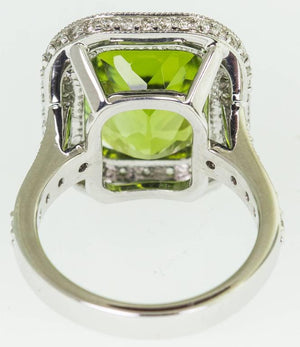 9.54 Carat Peridot Diamond Gold Statement Ring