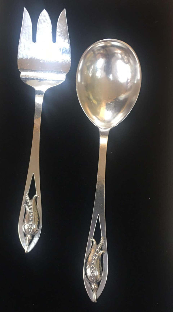 Carl Poul Petersen Sterling Silver Fork and Spoon Blossom Corn Flower Servers