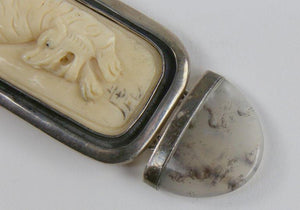 Vintage Year of the Tiger Estate Bone Agate Brooch Pin Pendant