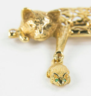 Vintage Whimsical Cat and Mouse Gold Brooch Pin Estate Fine Jewelry