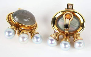 Elizabeth Gage Cabochon Beryl Pearl Diamond Gold Earrings Estate Fine Jewelry