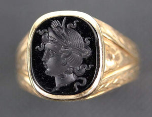 Victorian Hardstone Intaglio Unisex Portrait Gold Ring Estate Fine Jewelry