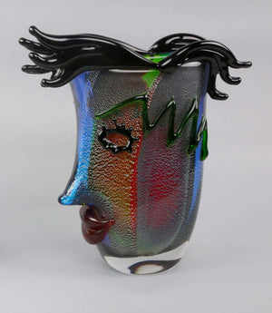Celebration to Picasso 2 Large Murano Art Glass Abstract Face Vases Estate Find