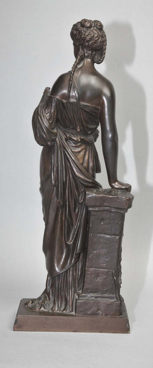 Antique Bronze Female Sculpture by Eugene Antoine Aizelin, 19th Century, France