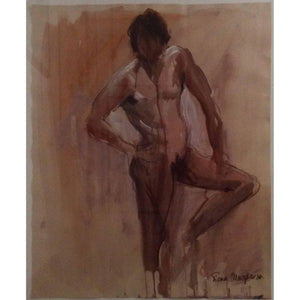 'The Pose' Pastel and Watercolor Male Nude Fiona Macpherson