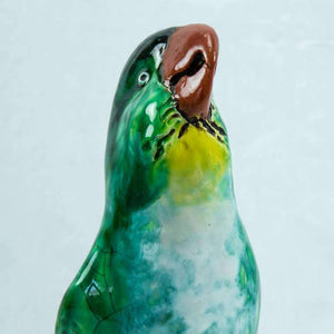 Art Deco Glazed Pottery Statuette Macaw Parrot, France