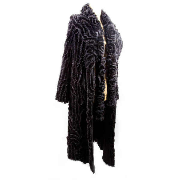 Exquisite Long Black Mink Fur and Silk Ribbon Runway Coat and Matching Scarf