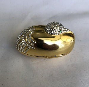 Judith Leiber Resting Crane Bird Diamante Gold Trinket Pill Box