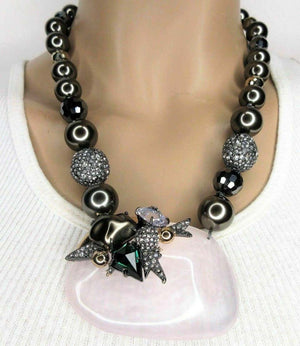 Designer Lucite Beaded Faux Pearl and Crystal Alexis Bittar Necklace