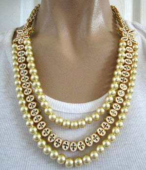 Enamel and Rhinestone Faux Pearl Reversible Choker Necklace