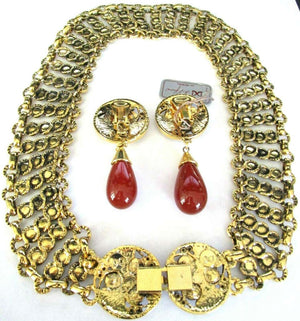 Designer Beaded Necklace and Earring Set by Gianni De Liguoro Italy