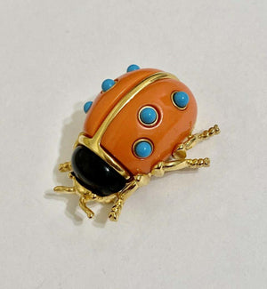 Signed KJL by Kenneth Jay Lane Faux Black Onyx and Faux Coral Ladybug Brooch Pin