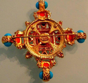 Kenneth Lane KJL Couture Faux Coral Turquoise Byzantine Maltese Cross Brooch Pin