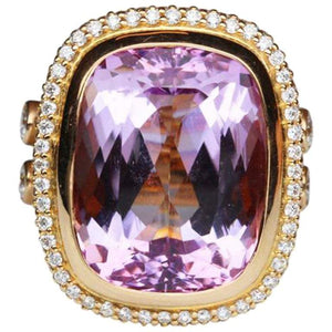 17.65 Carat Cushion Cut Kunzite Diamond Statement Ring Estate Fine Jewelry