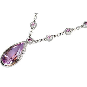 67.00 Carat Kunzite Pink Sapphire and Diamond Gold Necklace Fine Estate Jewelry
