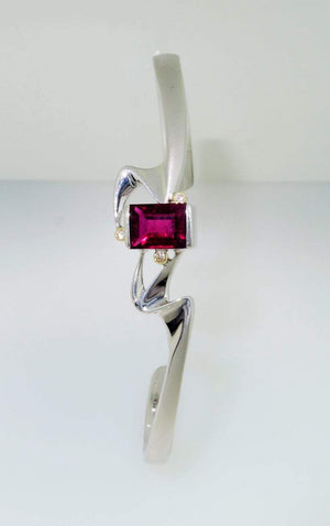Rubelite Tourmaline and Diamond Gold S/S Bracelet Fine Estate Jewelry
