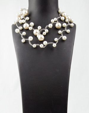 Long and Elegant faux Pearl Braided Wire Necklace