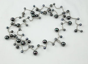 Long Black Faux Pearl Sautoir Ststement Necklace