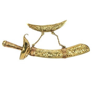 Antique Sword and Sheath Engraved Two-tone Gold Jabot Brooch Pin