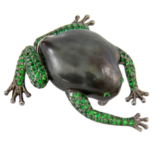Tahitian South Sea Pearl Tsavorite Garnet Gold Frog Statement Brooch Pin
