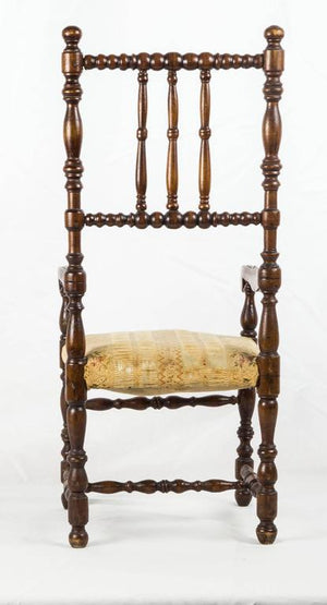 Louis XIII Style Doll's Walnut Open Armchair France