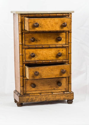 Doll's Marble-Top Bird's Eye Maple and Faux Bamboo Highboy, France