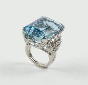 Estate 40 Carat Aquamarine Diamond Platinum Heirloom Ring
